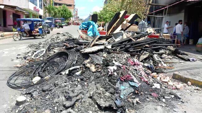 Tarapoto: damnificados de incendio esperan apoyo con maquinaria para remoción de escombros
