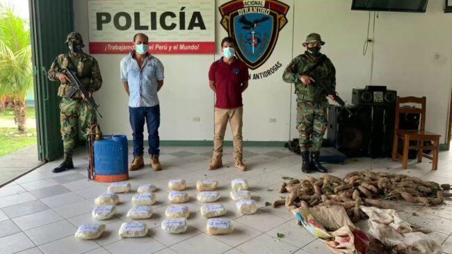 Tarapoto: decomisan 37 kg de droga camuflados en fumigadora y sacos