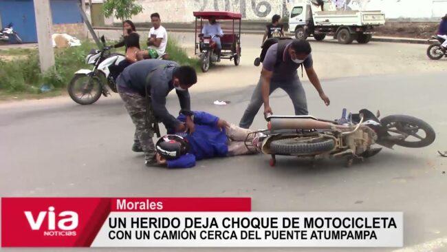 Un herido deja choque de motocicleta con un camión cerca del puente Atumpampa