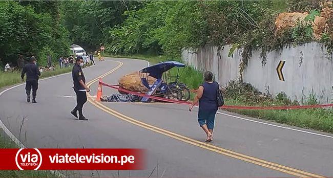 Roca cae sobre trimóvil y conductor muere en el acto en la carretera Fernando Belaúnde Terry