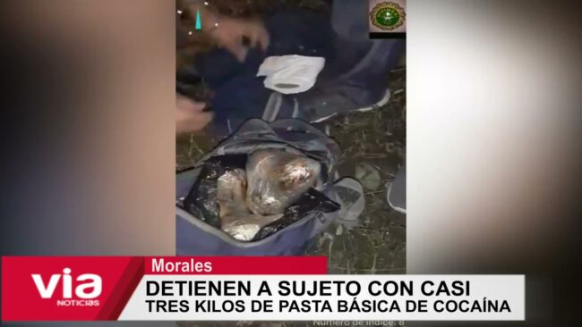 Morales: detienen a sujeto con casi tres kilos de pasta básica de cocaína