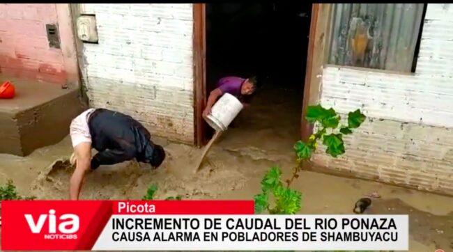 Incremento de caudal del río Ponaza causa alarma en pobladores de Shambuyacu
