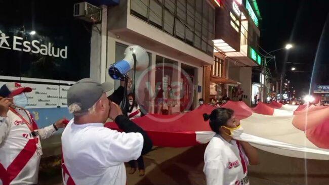 Simpatizantes de Fuerza Popular se movilizan por las calles de Tarapoto
