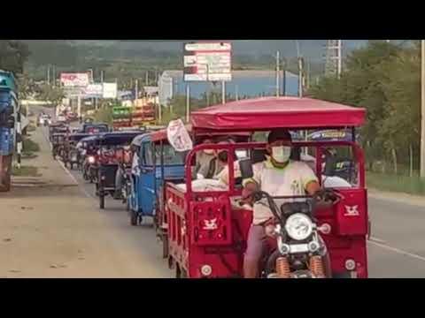 Simpatizantes de Perú Libre en Tarapoto cierran campaña con caravana