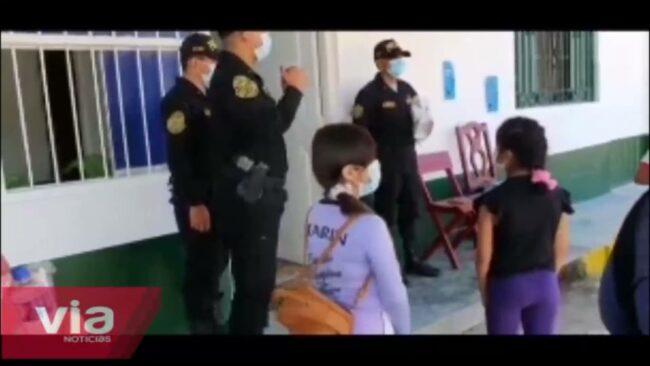 Agentes de la comisaría de Nuevo Lima brindan apoyo a niños en clases virtuales