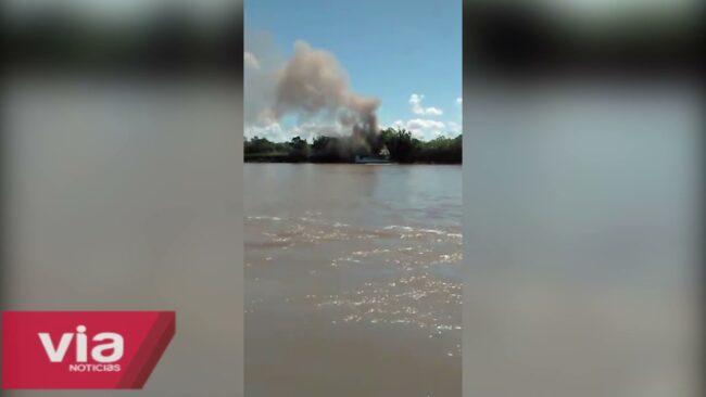 Embarcación se incendia y deja daños materiales en Yurimaguas
