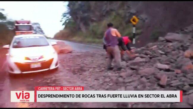 Desprendimiento de rocas tras fuerte lluvia en sector El Abra