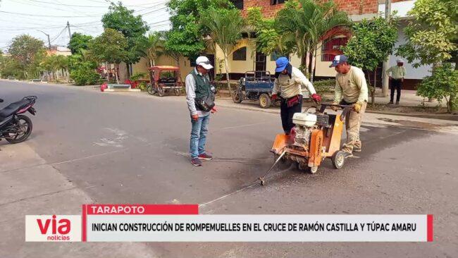 Inician construcción de rompemuelles en el cruce de Ramón Castilla y Túpac Amaru