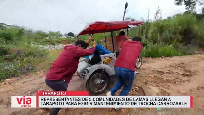 Representantes de 5 comunidades de Lamas llegan a Tarapoto para exigir mantenimiento de trocha carrozable